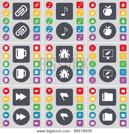 Clip, Note, Apple, Cup, Bug, Montor, Rewind, Flag, Folder Icon Symbol. A Large Set Of Flat, Colored