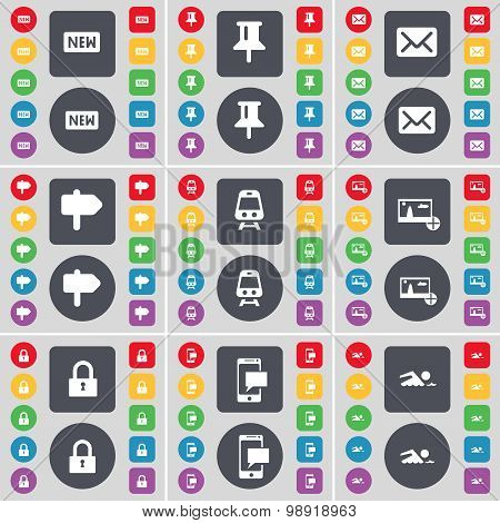New, Pin, Message, Signpost, Train, Picture, Lock, Sms, Swimmer Icon Symbol. A Large Set Of Flat, Co