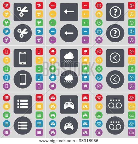 Scissors, Arrow Left, Question Mark, Smartphone, Cloud, Arrow Left, List, Gamepad, Cassette Icon Sym