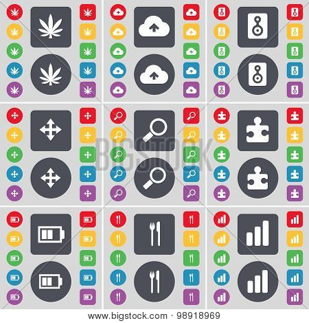 Marijuana, Cloud, Speaker, Moving, Magniifying Glass, Puzzle Part, Battery, Fork And Knife, Diagram