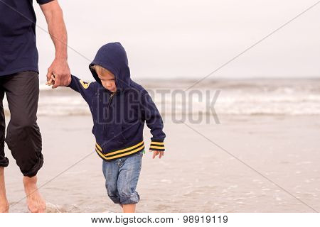 adorable obedient toddler boy walking on a beach holding hands with his father