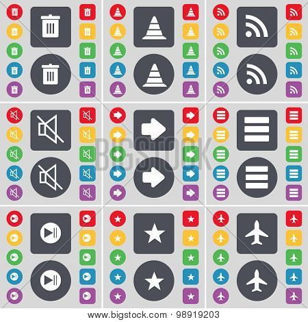 Trash Can, Cone, Rss, Mute, Arrow Right, Apps, Media Skip, Star, Airplane Icon Symbol. A Large Set O