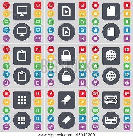 Monitor, Media File, File, Survey, Lock, Globe, Apps, Marker, Record-player Icon Symbol. A Large Set
