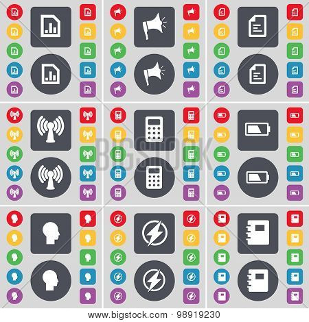 Diagram File, Megaphone, Text File, Wi-fi, Calculator, Battery, Silhouette, Flash, Notebook Icon Sym