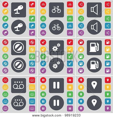Microphone, Bicycle, Sound, Stop, Gear, Gas Station, Cassette, Pause, Checkpoint Icon Symbol. A Larg