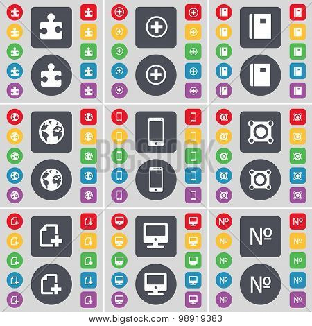 Puzzle Part, Plus, Notebook, Earth, Smartphone, Speaker, File, Monitor, Number Icon Symbol. A Large