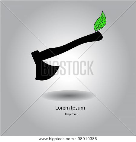 Flat Vector Illustration Axe Silhouette Icon With Green Leaf On The Handle, Environment Concept.