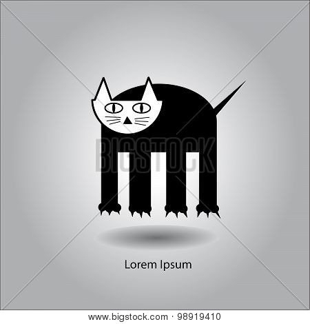 Flat Vector Illustration Graphic Black Funny Cat With Four Legs.