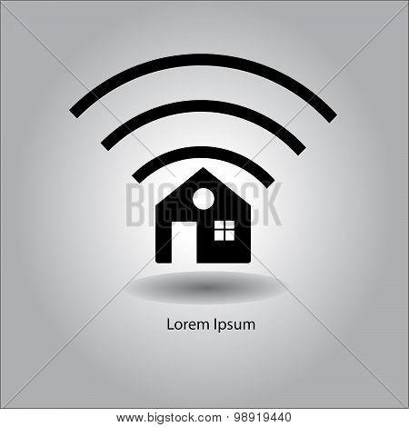 Illustration Vector Home Icon With Wireless Signal Sign Symbol.
