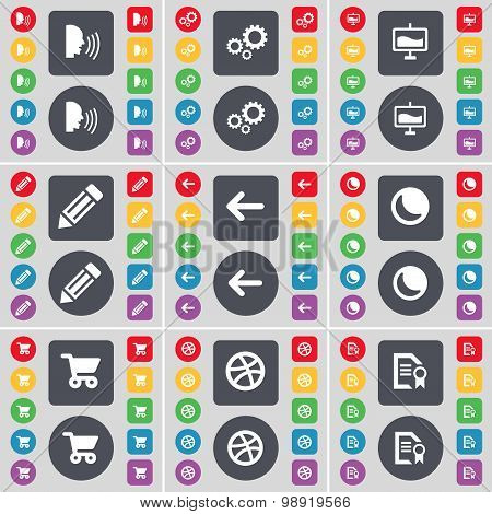 Talk, Gear, Graph, Pencil, Arrow Left, Moon, Shopping Cart, Ball, Text File Icon Symbol. A Large Set