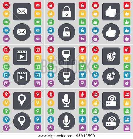 Message, Lock, Like, Media Player, Wineglass, Pizza, Checkpoint, Microphone, Router Icon Symbol. A L