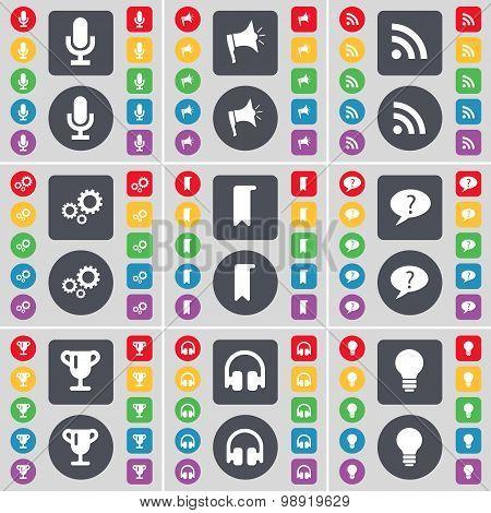 Microphone, Megaphone, Rss, Gear, Marker, Chat Bubble, Cup, Headphones, Light Bulb Icon Symbol. A La