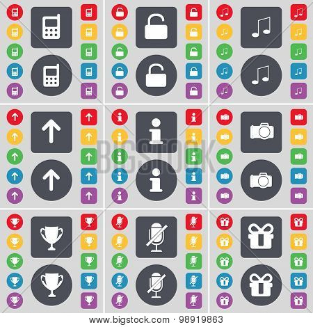 Mobile Phone, Lock, Note, Arrow Up, Information, Camera, Cup, Microphone, Gift Icon Symbol. A Large