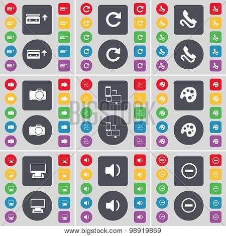 Cassette, Reload, Receiver, Camera, Connection, Palette, Monitor, Sound, Minus Icon Symbol. A Large