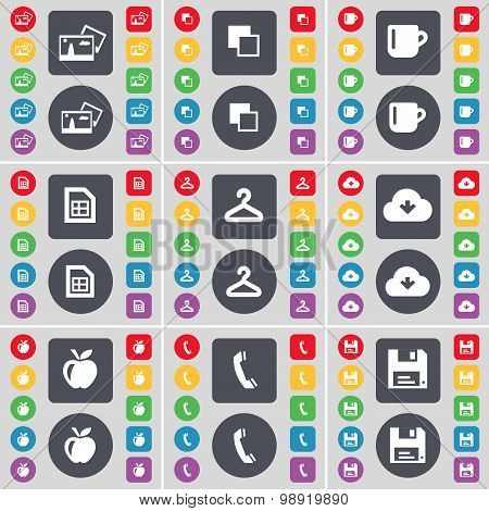 Picture, Copy, Cup, File, Hanger, Cloud, Apple, Receiver, Floppy Icon Symbol. A Large Set Of Flat, C