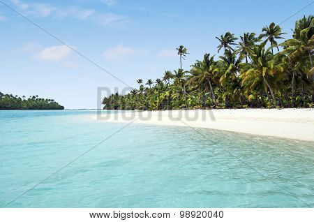 Landscape view of One foot Island in Aitutaki Lagoon Cook Islands.