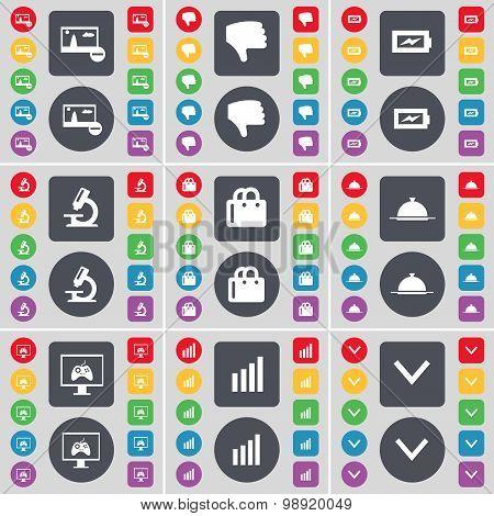 Picture, Dislike, Charging, Microscope, Shopping Bag, Tray, Monitor, Diagram, Arrow Down Icon Symbol