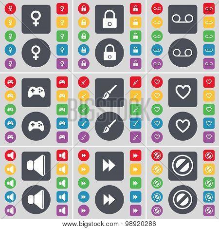 Venus Symbol, Lock, Cassette, Gamepad, Brush, Heart, Sound, Rewind, Stop Icon Symbol. A Large Set Of