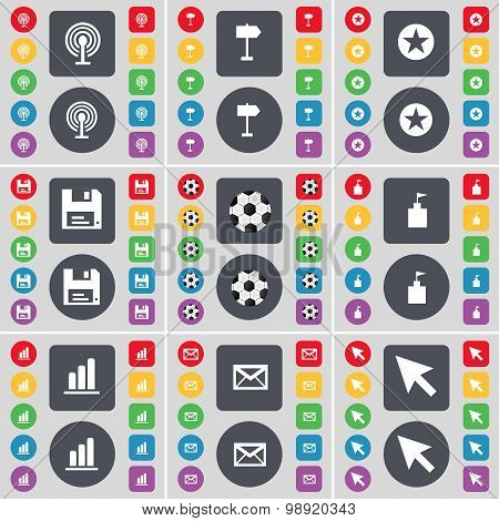 Wi-fi, Signpost, Star, Floppy, Ball, Flag Tower, Diagram, Message, Cursor Icon Symbol. A Large Set O