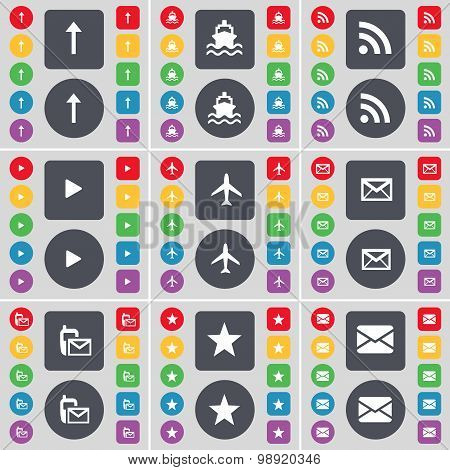 Arrow Up, Ship, Rss, Media Play, Airplane, Message, Sms, Star Icon Symbol. A Large Set Of Flat, Colo