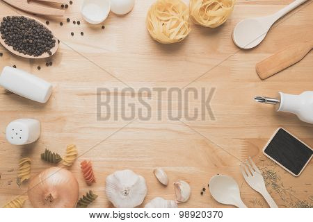 Top view kitchen mockup,Rural kitchen utensils and ingredients on wooden table