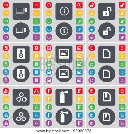 Laptop, Information, Lock, Speaker, Window, File, Gear, Fire Extinguisher Icon Symbol. A Large Set O