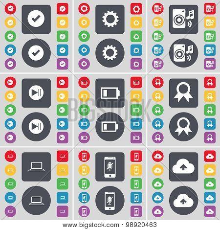 Tick, Gear, Speaker, Media Skip, Battery, Medal, Laptop, Smartphone, Cloud Icon Symbol. A Large Set