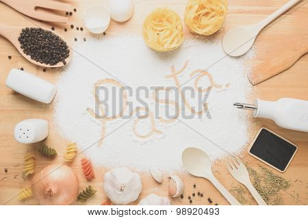 Top view kitchen mockup,Rural kitchen utensils on wooden table
