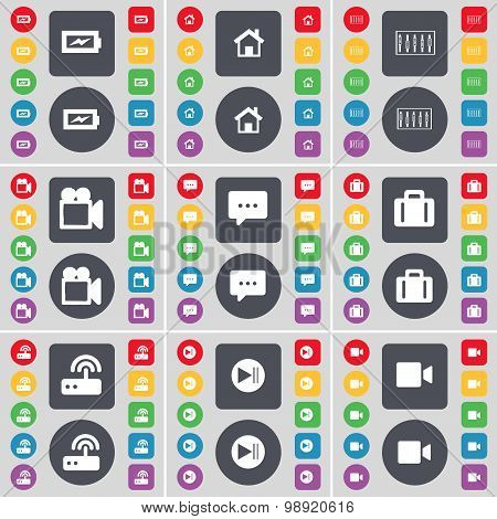 Charging, House, Equalizer, Film Camera, Chat Bubble, Suitcase, Router, Media Skip, Film Camera Icon
