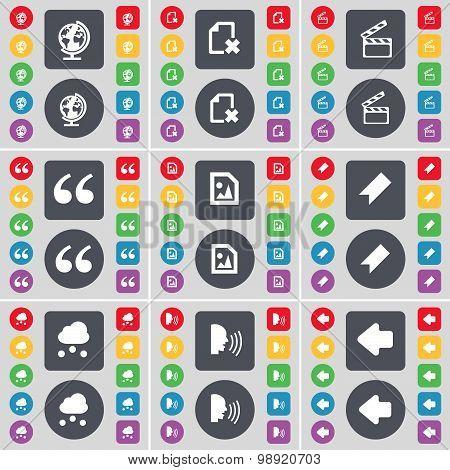 Globe, File, Clapper, Quotation Mark, Media File, Marker, Cloud, Talk, Arrow Left Icon Symbol. A Lar