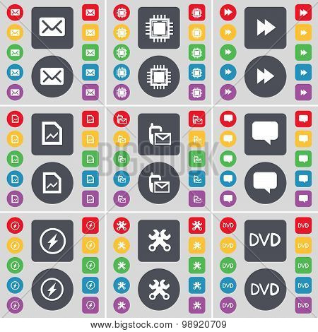 Message, Processor, Rewind, Graph File, Sms, Chat Bubble, Flash, Wrench, Dvd Icon Symbol. A Large Se