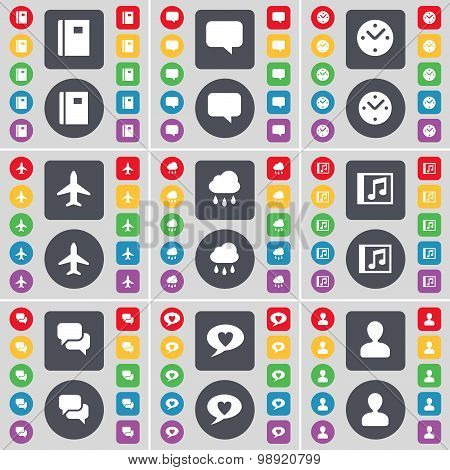 Notebook, Chat Bubble, Clock, Airplane, Cloud, Music Window, Chat, Avatar Icon Symbol. A Large Set O