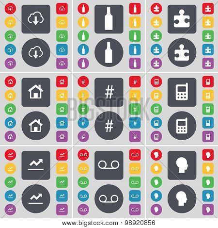 Cloud, Bottle, Puzzle Part, House, Hashtag, Mobile Phone, Graph, Cassette, Silhouette Icon Symbol. A