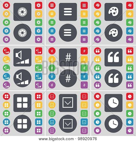 Lens, Apps, Palette, Volume, Hashtag, Quotation Mark, Apps, Arrow Down, Clock Icon Symbol. A Large S