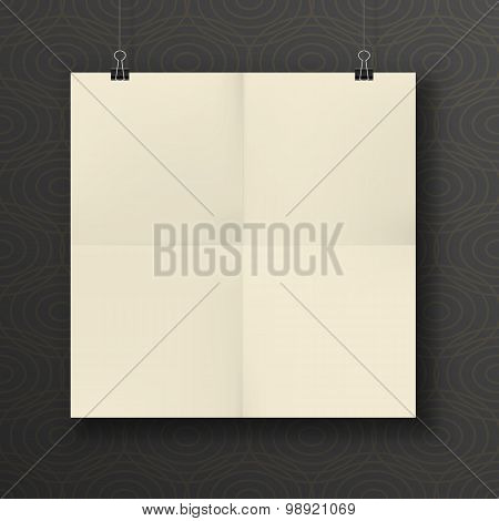 Hanging Paper square Sheet folded in four