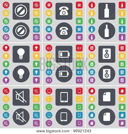 Stop, Retro Phone, Bottle, Light Bulb, Battery, Speaker, Mute, Tablet Pc, File Icon Symbol. A Large