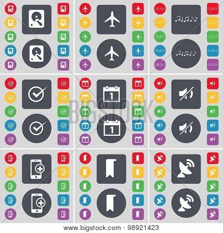 Hard Drive, Airplane, Note, Tick, Calendar, Mute, Smartphone, Marker, Satellite Dish Icon Symbol. A