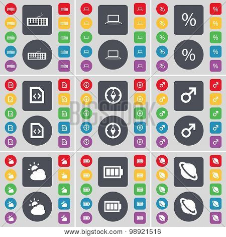 Keyboard, Laptop, Percent, File, Compass, Mars Symbol, Cloud, Battery, Planet Icon Symbol. A Large S