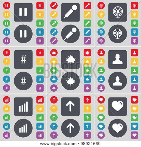 Pause, Microphone, Wi-fi, Hashtag, Maple Leaf, Avatar, Diagram, Arrow Up, Heart Icon Symbol. A Large