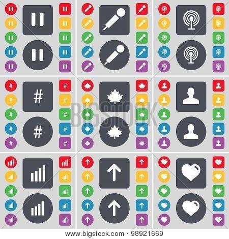 Pause, Microphone, Wi-fi, Hashtag, Maple Leaf, Avatar, Diagram, Arrow Up, Heart Icon Symbol. A Large