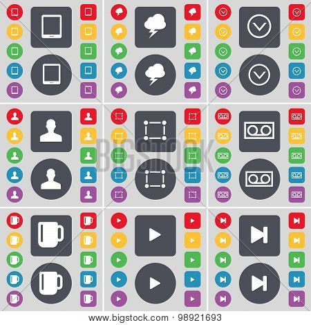 Tablet Pc, Lightning, Arrow Down, Avatar, Frame, Cassette, Cup, Media Play, Media Skip Icon Symbol.