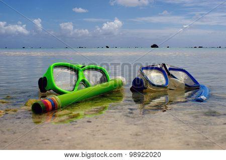 Snorkeling Equipment In Aitutaki Lagoon Cook Islands