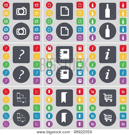 Camera, File, Bottle, Question Mark, Notebook, Information, Connection, Marker, Shopping Cart Icon S