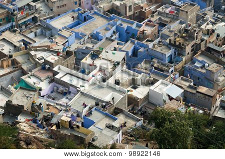 Jodhpur, India - January 1, 2015: Aerial view of Jodhpur, The Blue City