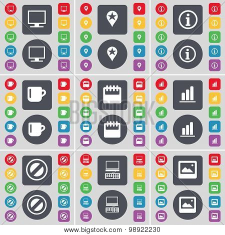 Monitor, Checkpoint, Information, Cup, Calendar, Diagram, Stop, Laptop, Window Icon Symbol. A Large