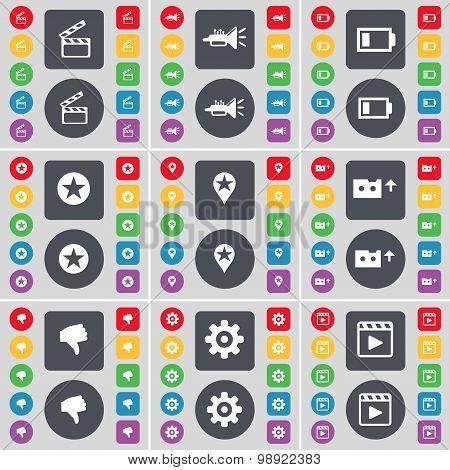 Clapper, Trumped, Battery, Star, Checkpoint, Cassette, Dislike, Gear, Media Player Icon Symbol. A La