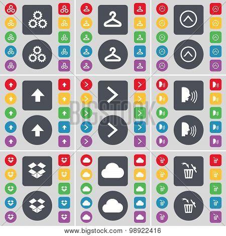 Gear, Hanger, Arrow Up, Arrow Right, Talk, Dropbox, Cloud, Trash Can Icon Symbol. A Large Set Of Fla