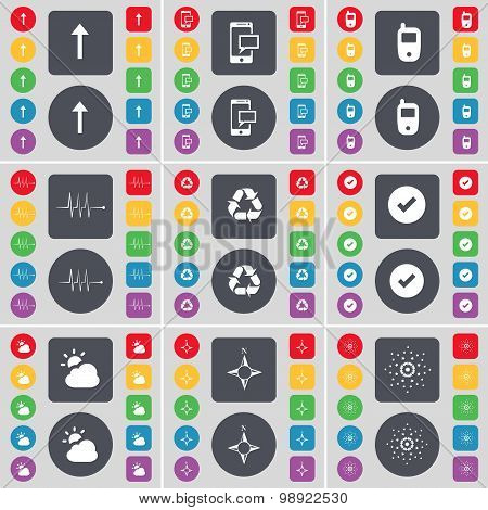 Arrow Up, Sms, Mobile Phone, Pulse, Recycling, Tick, Cloud, Compass, Star Icon Symbol. A Large Set O