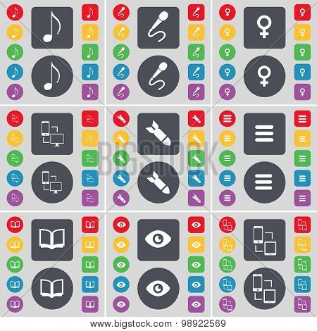 Note, Microphone, Venus Symbol, Connection, Rocket, Apps, Book, Vision Icon Symbol. A Large Set Of F