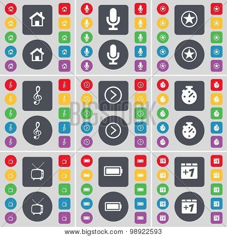 House, Microphone, Star, Clef, Arrow Right, Stopwatch, Retro Tv, Battery, Plus One Icon Symbol. A La